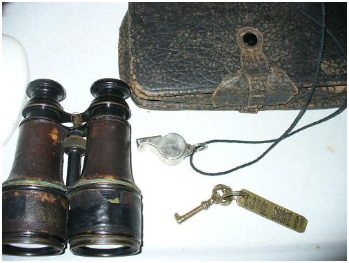 Binoculars, Whistle, and Movie Prop Key