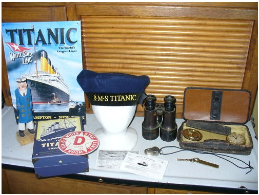 Titanic Officers Hat, Sign, etc